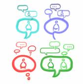Each person have their own view and identity which creates viral social network via gossip and referral to spread wider and wider. This idea is represent through 3D speech bubble sign and symbol — Stock Photo
