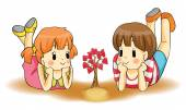 Cute cartoon children couple watch a heart plant growing in isolated background. Love will grow from childhood to adult. vector — Stock Vector