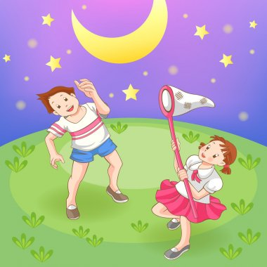 Two cartoon children boy and girl couple is catching stars in the field at night, create by vector (soft grass version)