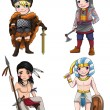 Ancient cartoon warriors fighters soldier and military warlords from various culture icon character set 2 consists of Indian Apache Scandinavian Vikings Egypt Medjay Turkish warrior, create by vector — Stock Vector #83188072