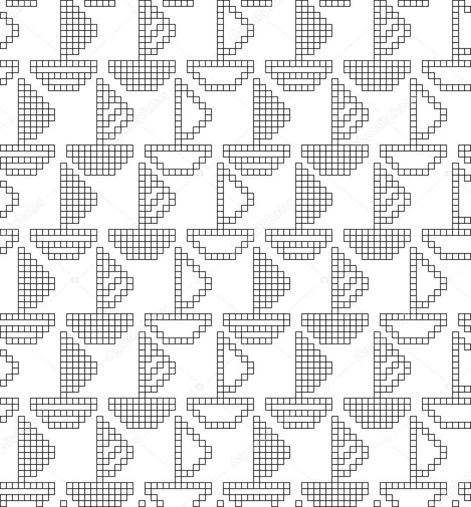 patrn geomtrico con barcos decorativos u vector de stock