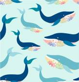 Marine seamless pattern with whales — Stock Vector