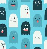 Seamless pattern with lovely ghosts — Stock Vector