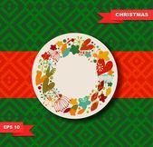 Holiday border with decorative wreath — ストックベクタ