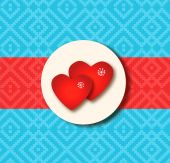 Holiday love border with two hearts. — Vector de stock