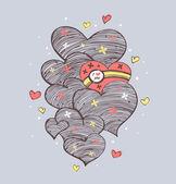 Original linear hearts. — Stockvector