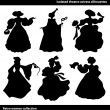 Black isolated theatre actress silhouettes — Stock Vector #65958761