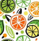 Naadloze patroon met citrusvruchten — Stockvector