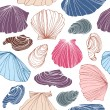 Seamless marine pattern with shells. — Stock Vector #78262692