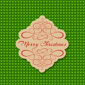 Knitted Background with Christmas Label. Greeting Card. — Stock Vector