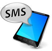Vector sms on mobile phone — Vector de stock