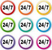 Twenty four seven icons — Stock Vector
