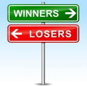 Winners and losers directional sign — Stock Vector