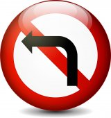 No left turn sign — Stock Vector