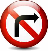No right turn sign — Stock Vector