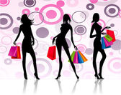 Shopping girls background — Stock Vector
