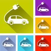 Электрический автомобиль значки — Cтоковый вектор