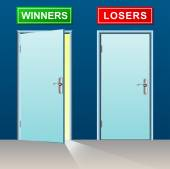 Winners and losers doors — Stock Vector