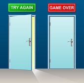 Retry and game over doors — Stock Vector