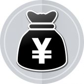 Yens bag sticker icon — Stock Vector