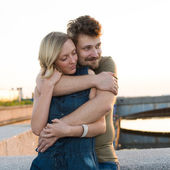 Pretty couple embrace outdoor. — Stock Photo