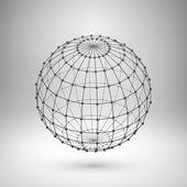 Wireframe mesh polygonal sphere. — Stock vektor