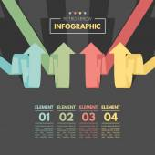 Colored arrow pointing up. Retro color infographics. — 图库矢量图片