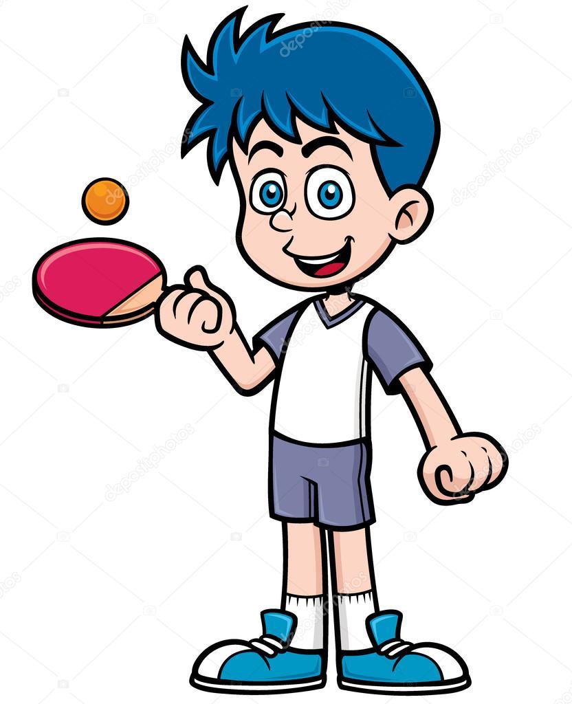 Jugador de tenis de mesa vector de stock 52259887 - Dessin tennis de table ...