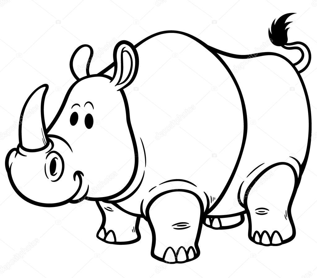 Dibujo Animado Rinoceronte Del Rinoceronte de Dibujos