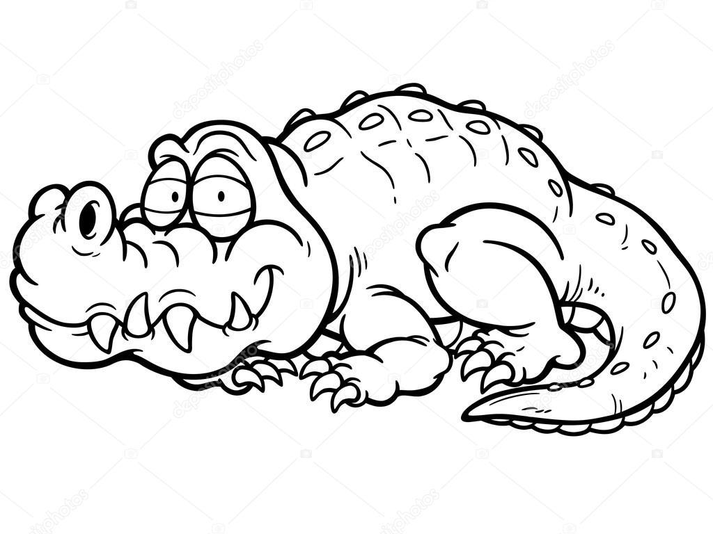 矢量图的卡通鳄鱼-填色书– 图库插图