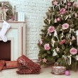 Christmas decorated room with rat fire place and Santa — Stock Photo #57295513