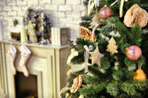 Christmas decorated room with rat fire place and Santa — Foto de Stock