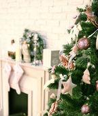 Christmas decorated tree — Stock Photo