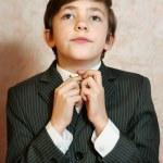 School boy in businessman suit — Stock Photo #63425035