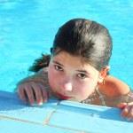 Preteen beautiful girl  in open air  swimming pool in egypt — Stock Photo #63426109