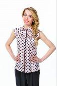Beautiful business woman fashion model girl in summer sleeveless — Stock Photo