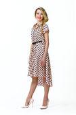 Красивый Бизнес Женщина Мода Модель девушка в летнее платье — Стоковое фото