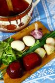 Ingredients for the summer cold beet root soup and wooden country ladle — Stock Photo