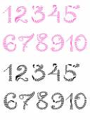 Handwritten pink and black numerals isolated on white — Stock Photo