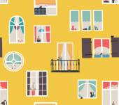 Window city. — Stock Vector