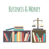 "Bookshelves  ""Business & Money"". — Stock Vector"