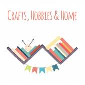 "Bookshelves  ""Crafts, Hobbies & Home"". — Stock Vector"