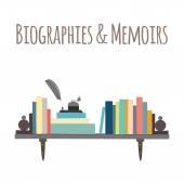 """Bookshelves  """"Biographies & Memoirs"""". — Stock Vector"""