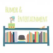 """Bookshelves  """"Humor & Entertainment"""". — Stock Vector"""
