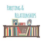 """Bookshelves  """"Parenting & Relationships"""". — Stock Vector"""