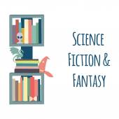 "Bookshelves  ""Science Fiction & Fantasy"". — Stock Vector"
