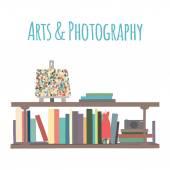 "Bookshelves  ""Arts & Photography"". — Stock Vector"