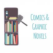 "Bookshelves  ""Comics & Graphic Novels"". — Stock Vector"