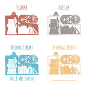 "Ex-Libris in the form of shelves with books. The category of ""history."" — Stock Vector"