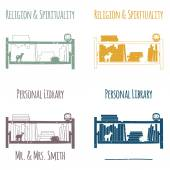"""Ex-Libris in the form of shelves with books. The category of """"Religion and Spirituality"""". — Stock Vector"""